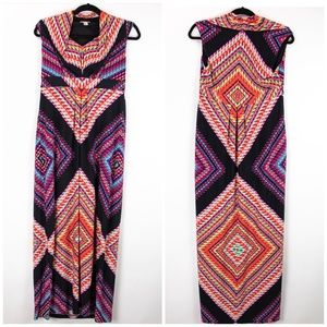 Chico's Colorful Boho Cowl Neck Maxi Dress